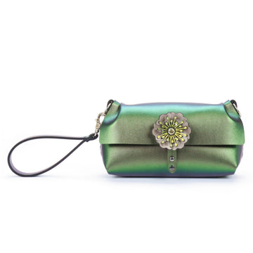 Emerald iridescent flower wristlet made from vegan leather