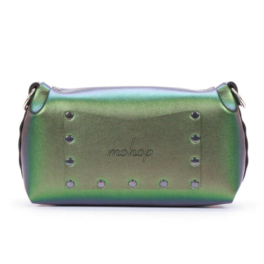 Emerald iridescent flower wristlet with exterior pocket