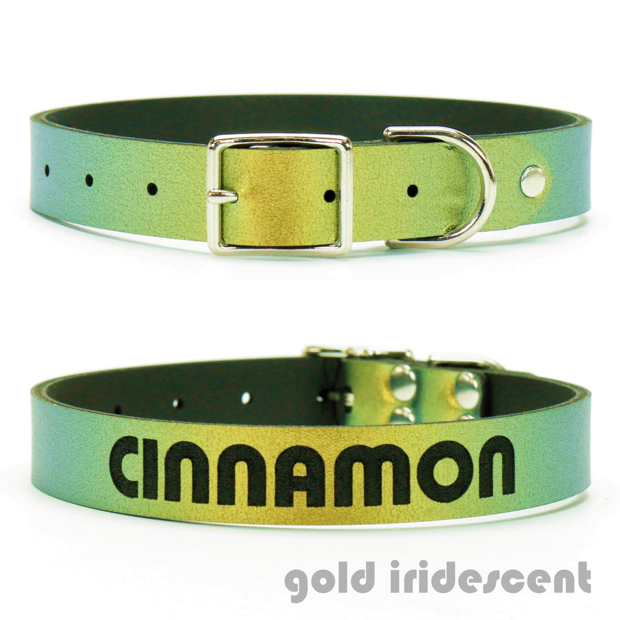 Gold Iridescent vegan leather custom dog collar
