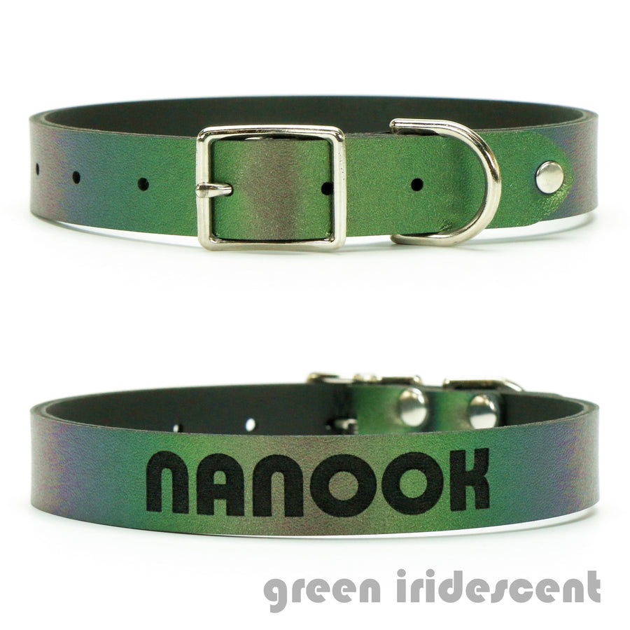 Green Iridescent vegan leather custom dog collar