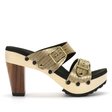 Gold High Heel Mule - Mohop