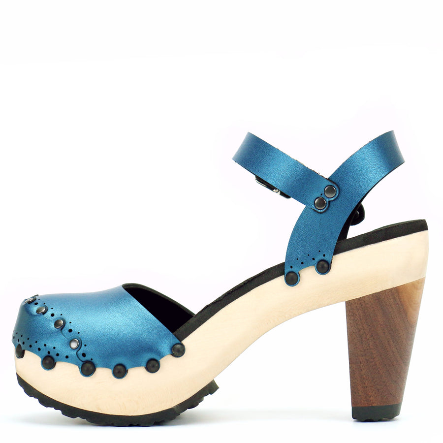 High Heel Closed Toe Ankle in Azure - Mohop