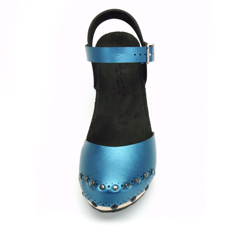 Blue Azure Closed Toe Ankle Clogs