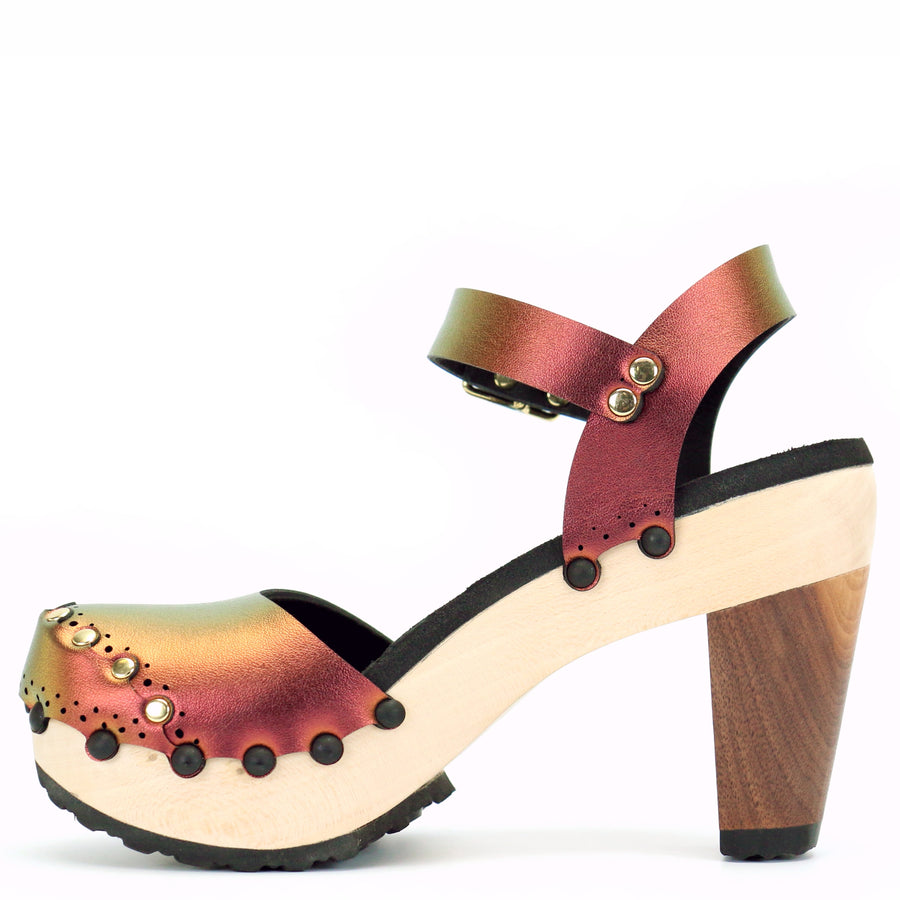 Red Iridescent Closed Toe Ankle Clogs