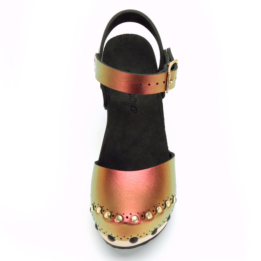 Ruby Iridescent Closed Toe Clog
