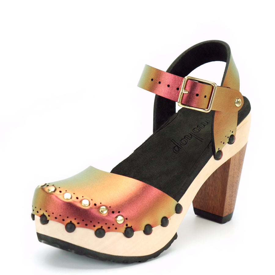Red Iridescent Closed Top Ankle Clogs