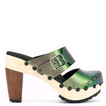 High Heel Mule in Emerald