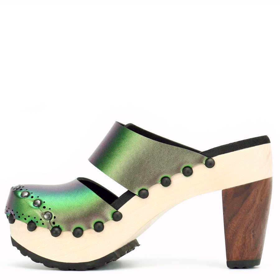 High Heel Closed Toe Mule in Emerald - Mohop