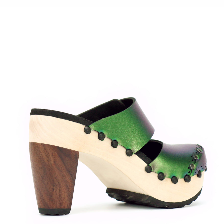Green Iridescent Closed Toe Mules