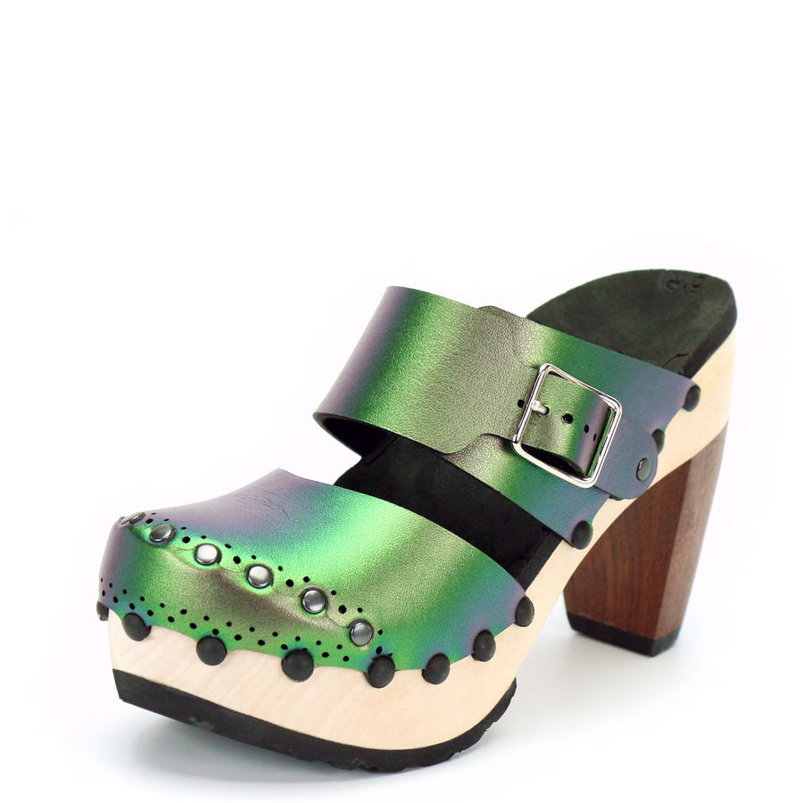 Green Iridescent High Heel Mules