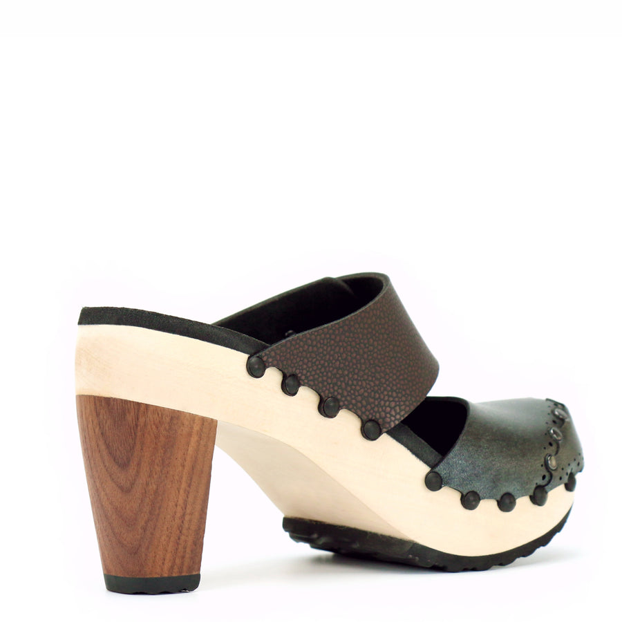 Brown and Grey High Heel Mule Clogs
