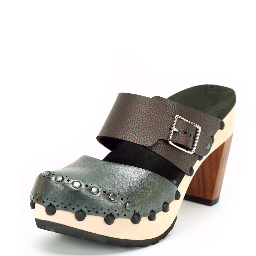 Espresso and slate vegan leather high heel clogs