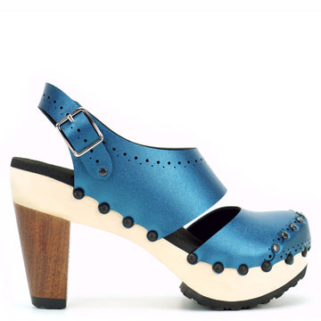 High Heel Closed Toe Slingbacks in Azure