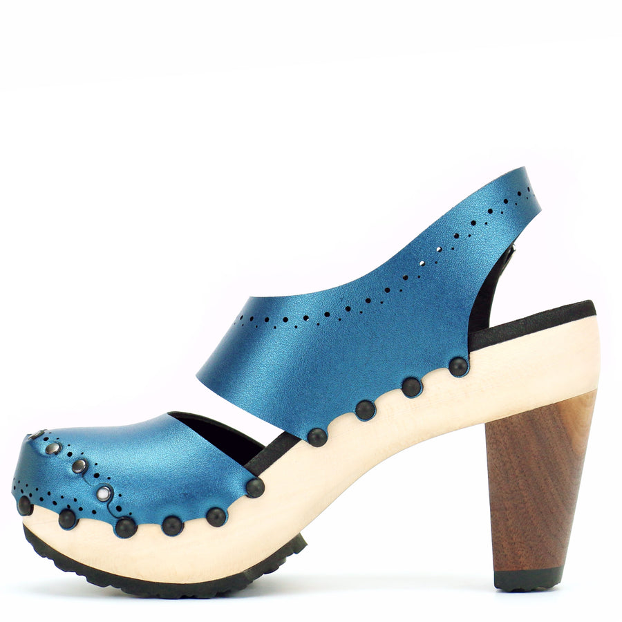 Bright blue vegan leather slingbacks with wooden high heel
