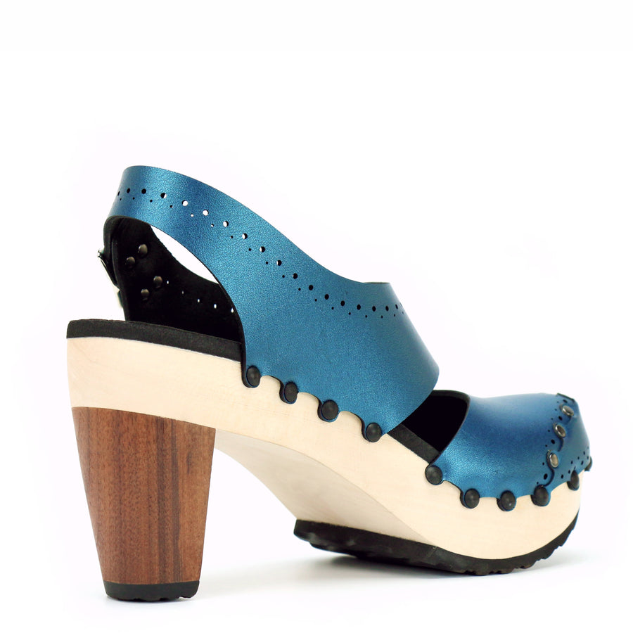 Azure vegan leather high heel slingbacks