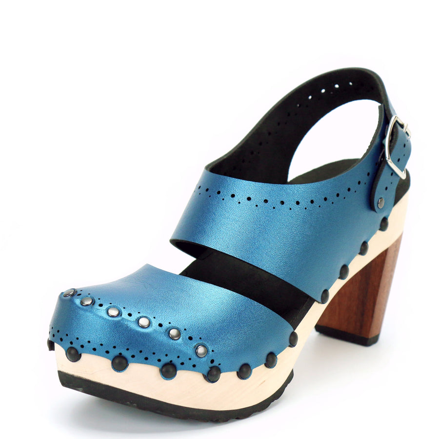 Azure vegan leather slingback clogs with 4