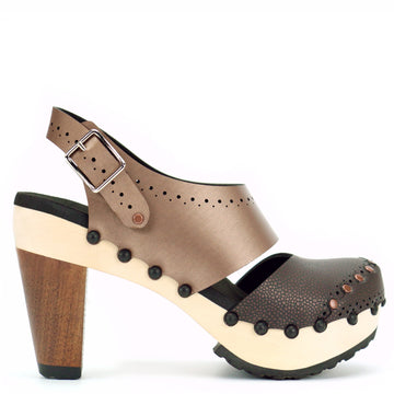 High Heel Closed Toe Slingback in Espresso and Mocha - Mohop