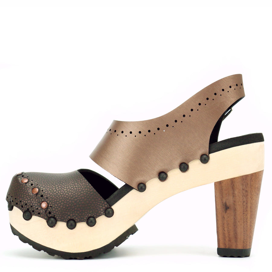 Brown Vegan Leather Slingbacks with Wooden High Heel