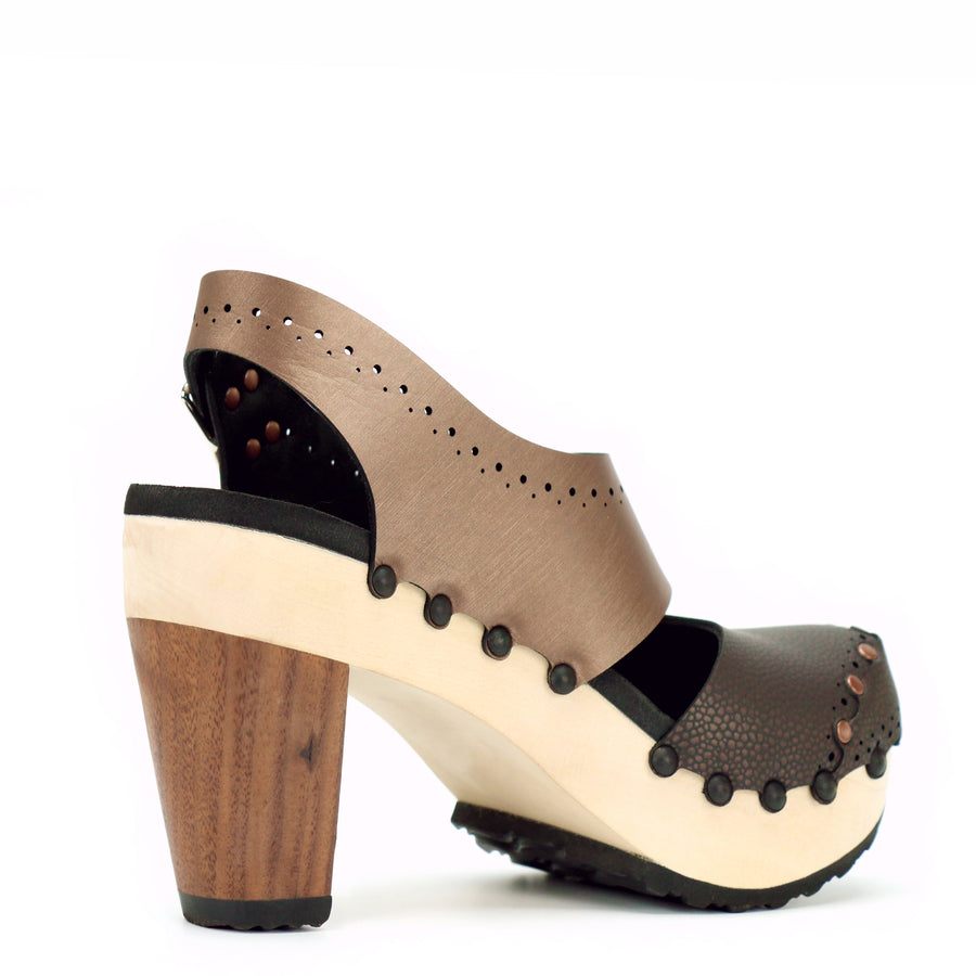 Espresso and Mocha High Heel Slingback Clogs with Closed Toe