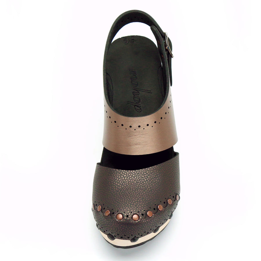 Brown Vegan Leather Closed Toe Slingback Clogs