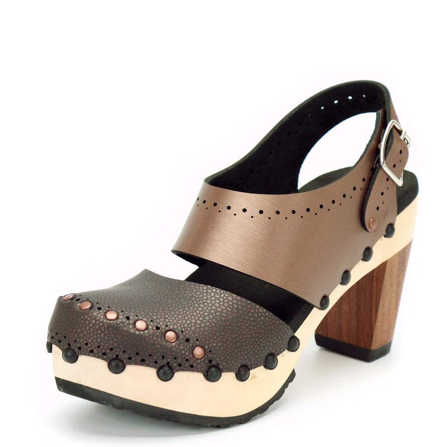 Brown vegan leather slingback clogs with wooden high heel