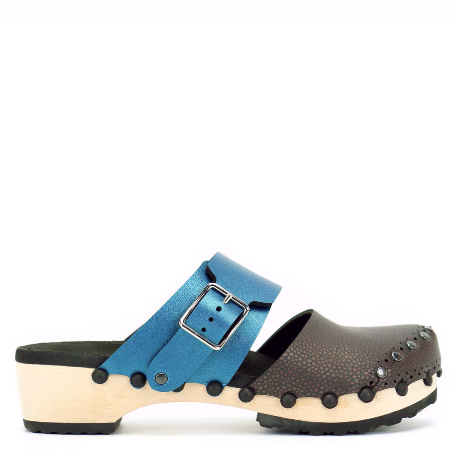 Brown and Blue Closed Toe Clogs