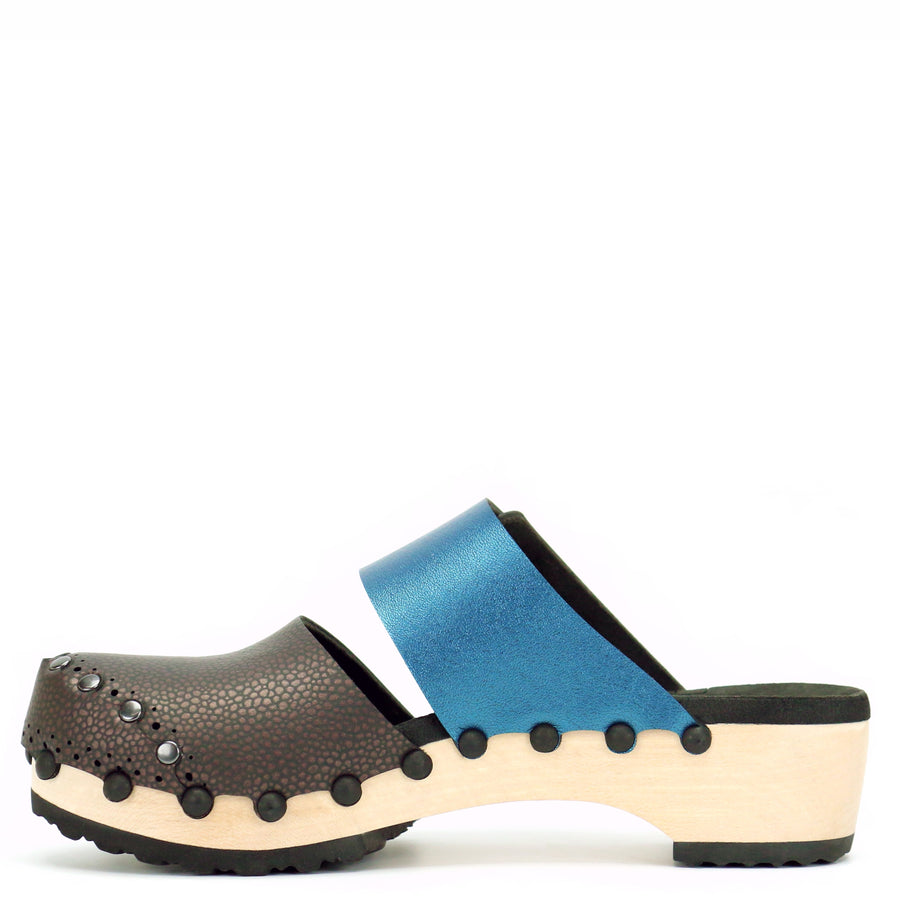 Espresso and Azure Vegan Leather Mule Clogs