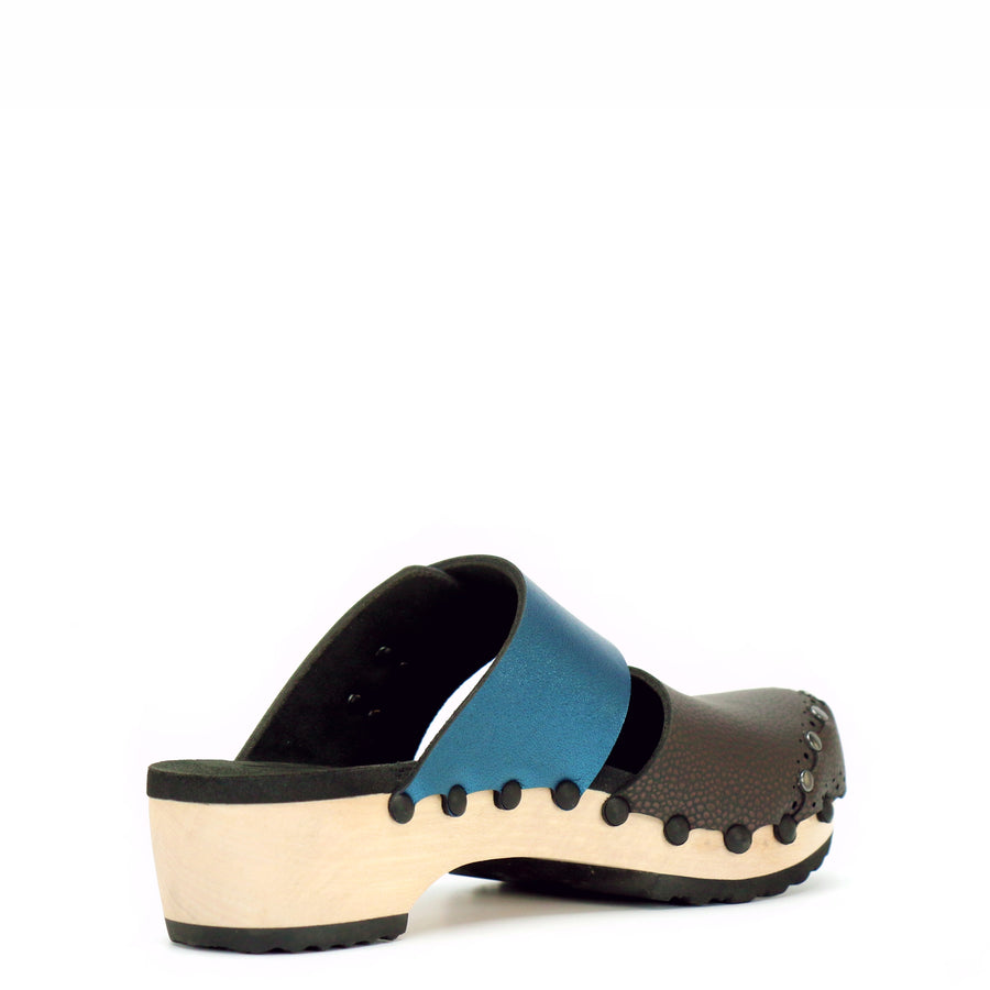 Low Clog Closed Toe Mule in Espresso and Azure - Mohop