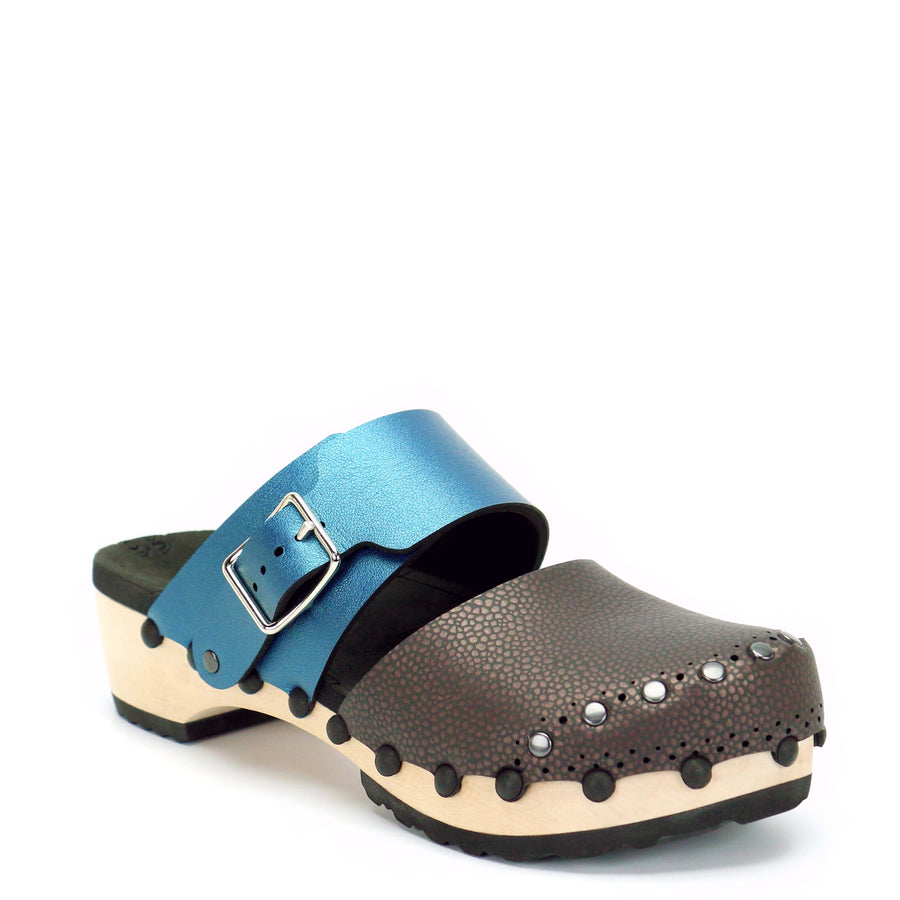 Brown and Blue Vegan Leather Closed Toe Clogs
