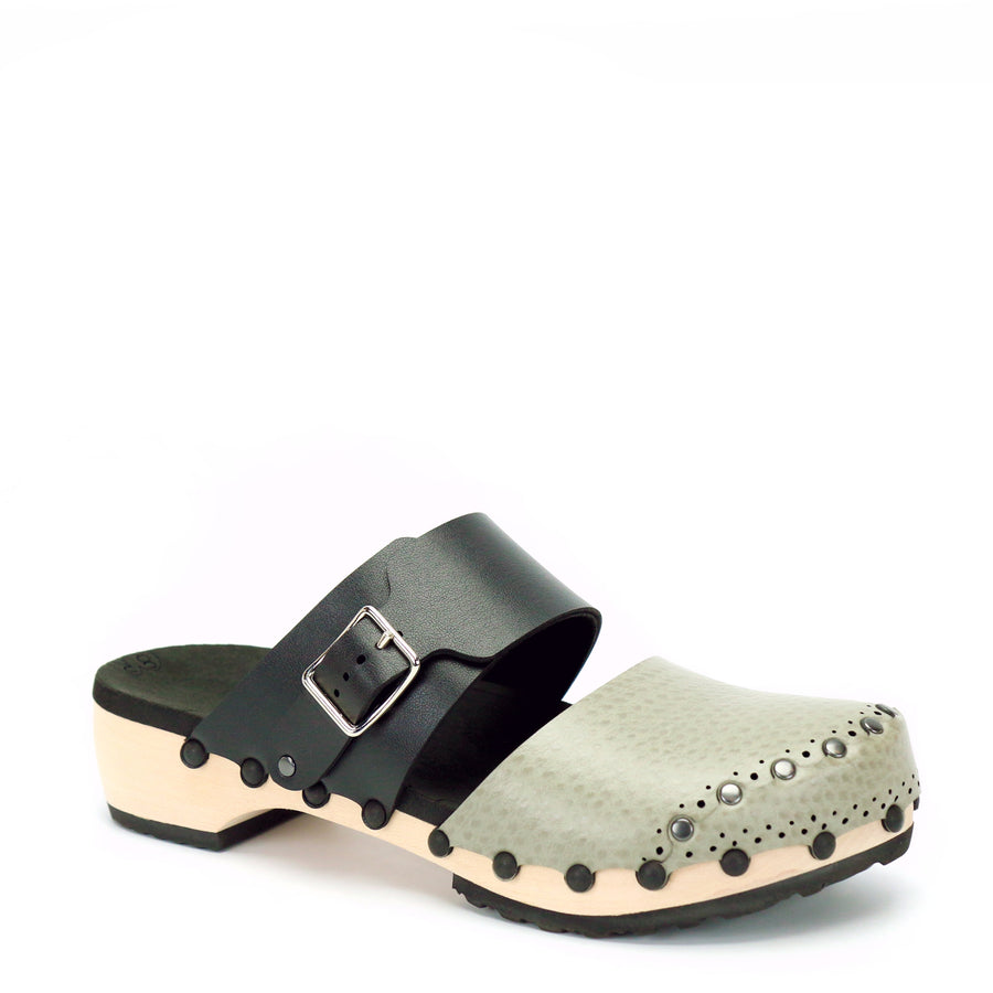 Low closed toe clog with black and taupe vegan leather upper