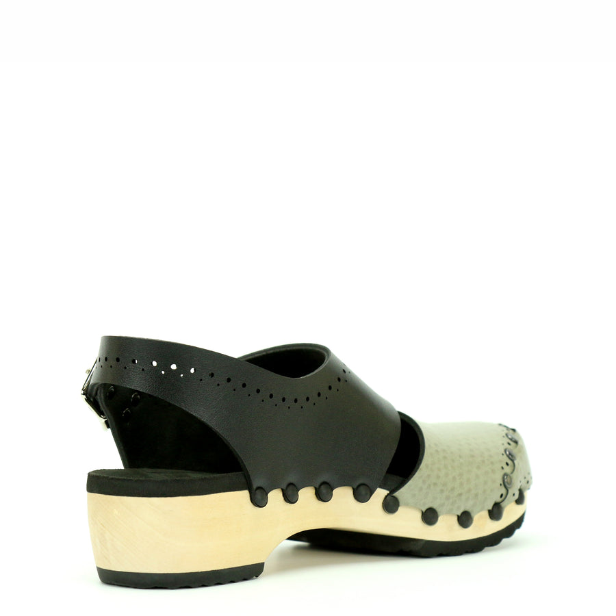 Low Clog Slingbacks in Taupe and Black