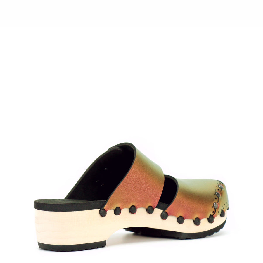 Low Mule Clogs with Ruby Iridescent Vegan Leather Upper