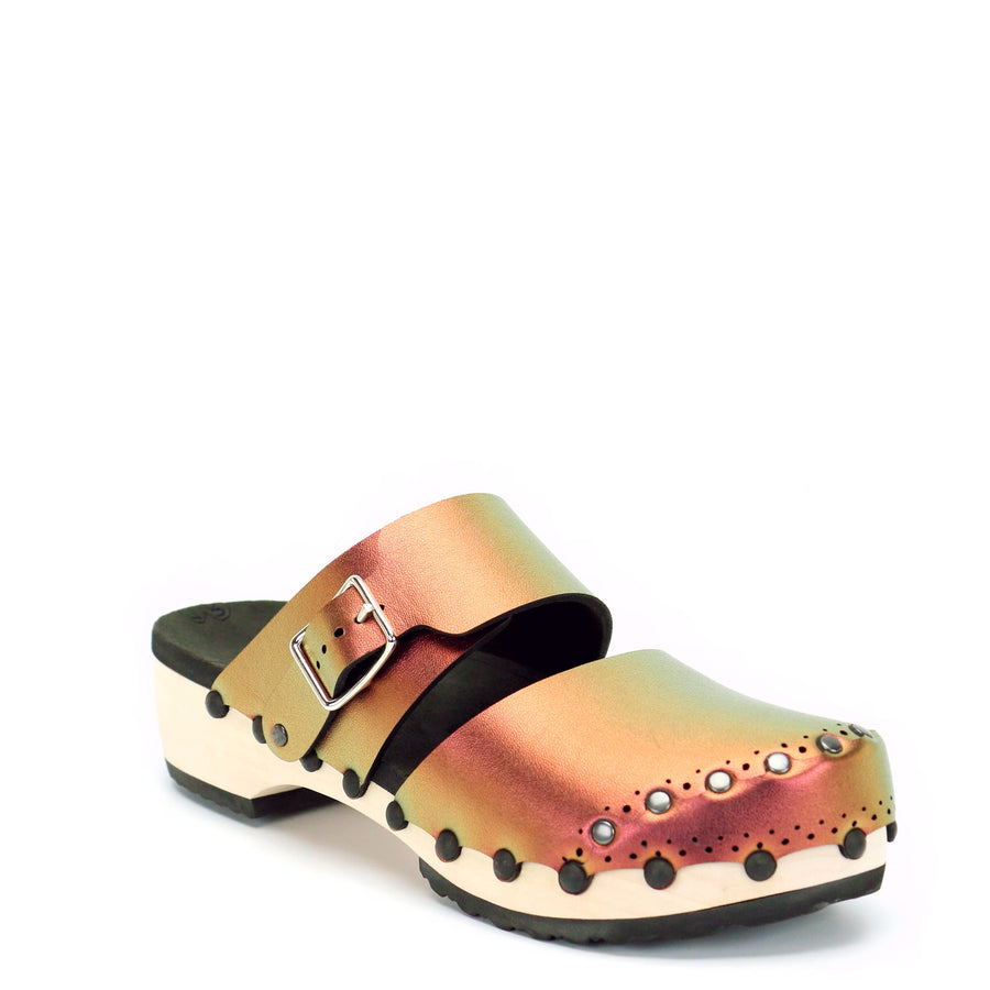 Ruby Iridescent Closed Toe Clogs with Wood Heel