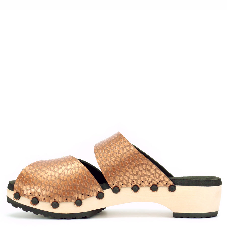 Low Peep toe clogs with copper vegan leather upper