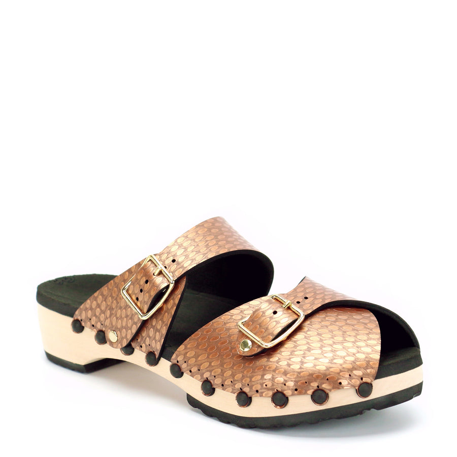 Copper vegan leather peep toe clogs with mule strap