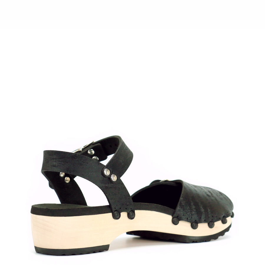 Black peep toe ankle clogs with low wooden heel