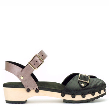 Low peep toe clog with midnight and rose gold upper