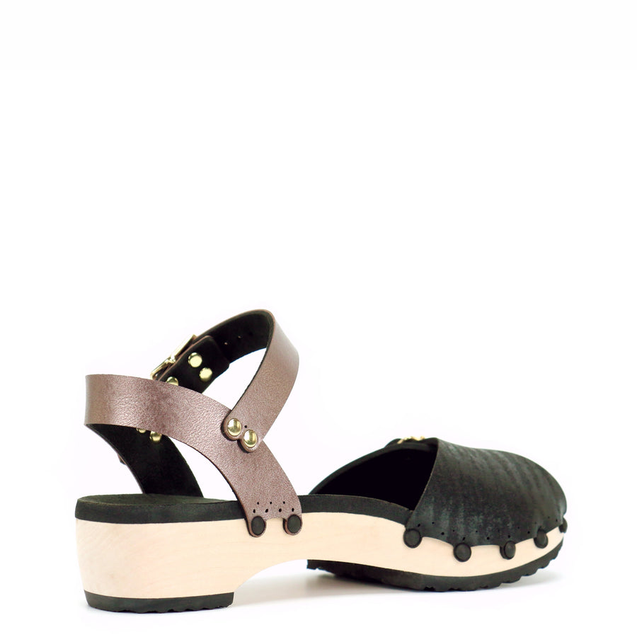Low ankle clog with midnight peep toe and rose gold ankle strap