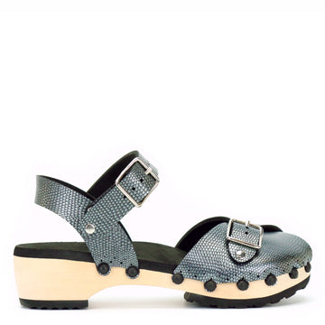 Low ankle clog peep toe with pewter vegan leather upper