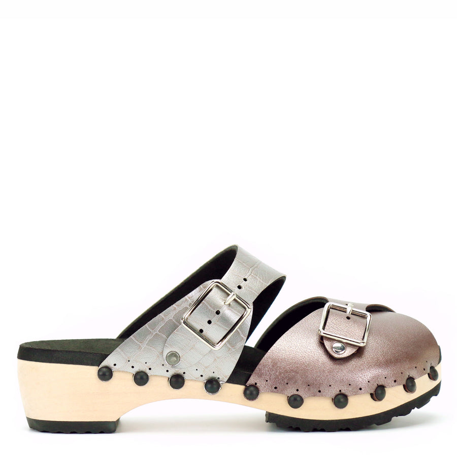 low clog peep toe mule in rose and croc
