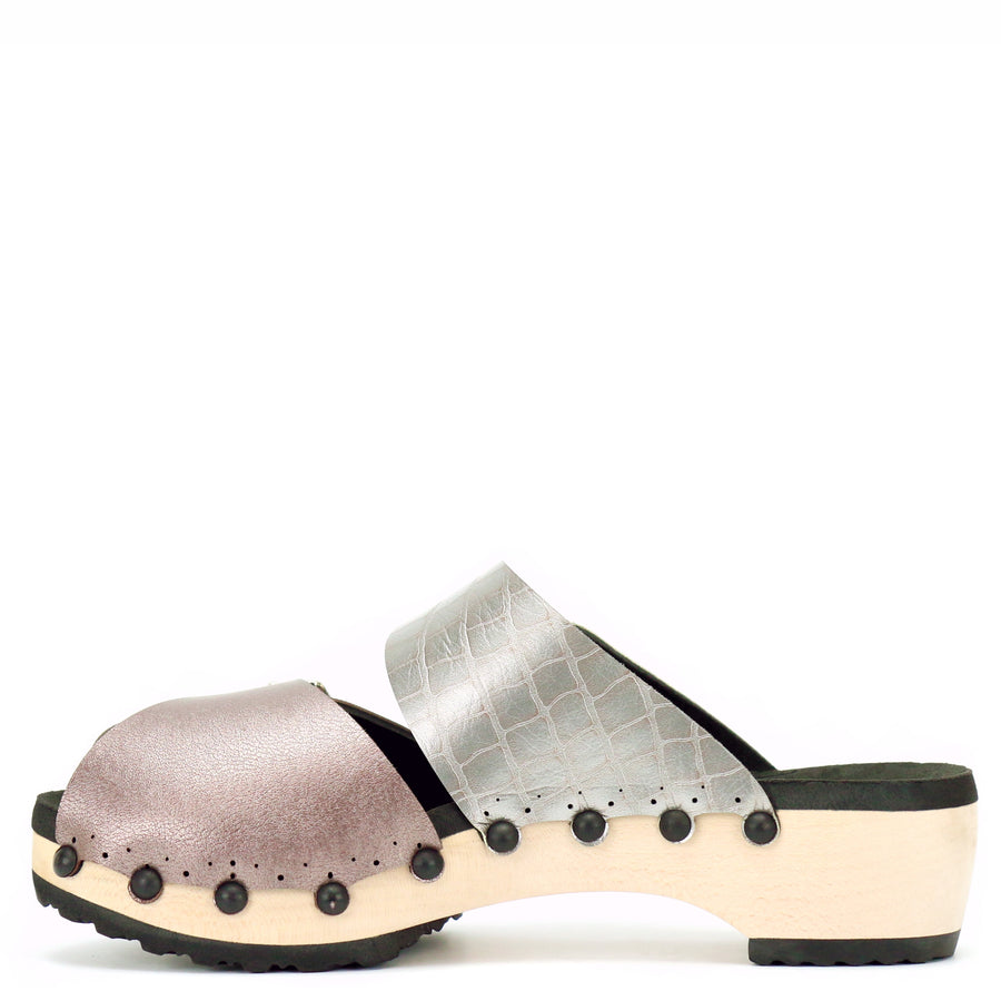 rose gold and silver crocodile vegan leather peep toe clogs