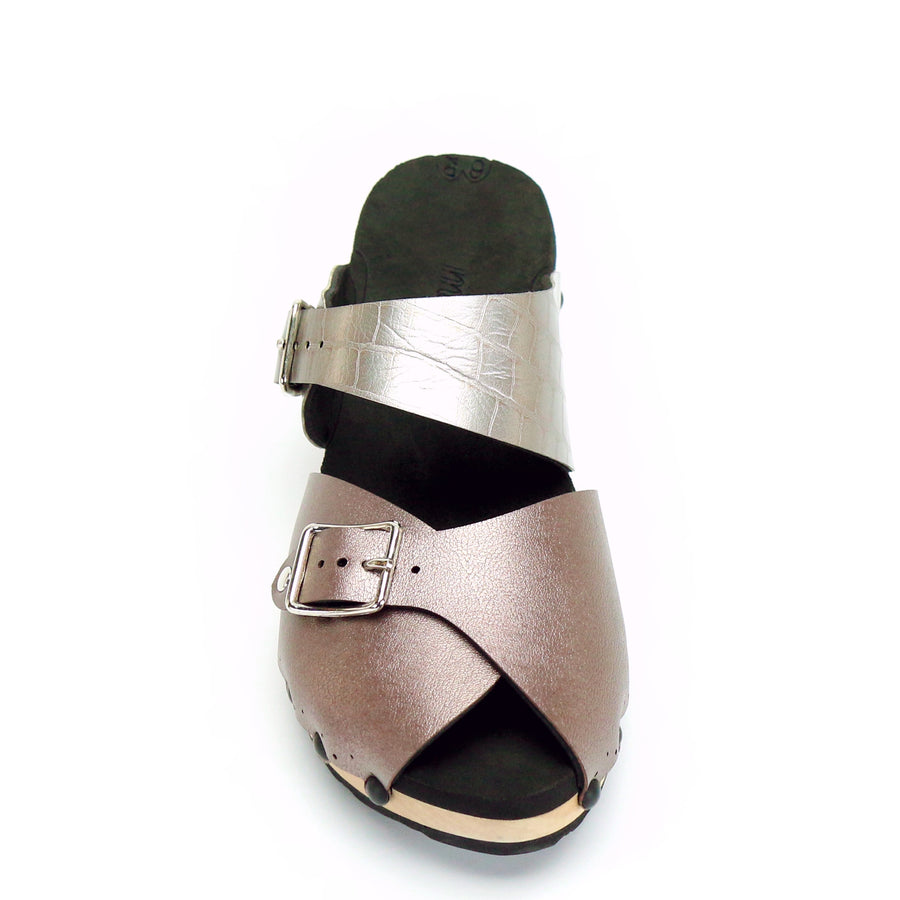 peep toe mule clogs in rose gold and silver crocodile vegan leather