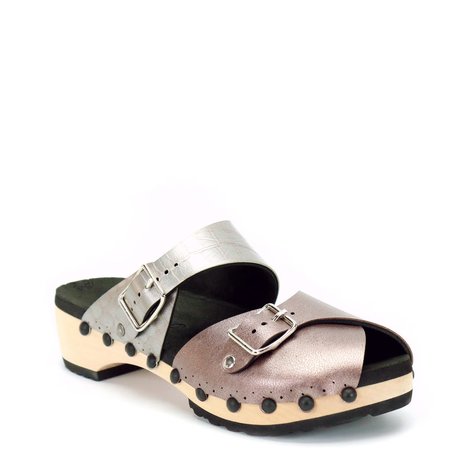 low clog peep toe mules in rose gold and silver crocodile vegan leather