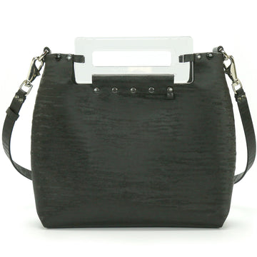 Black Chinchilla vegan leather crossbody with clear acrylic handle