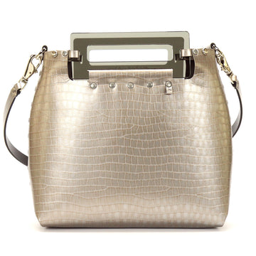 Silver Crocodile vegan leather medium crossbody bag with acrylic top handle