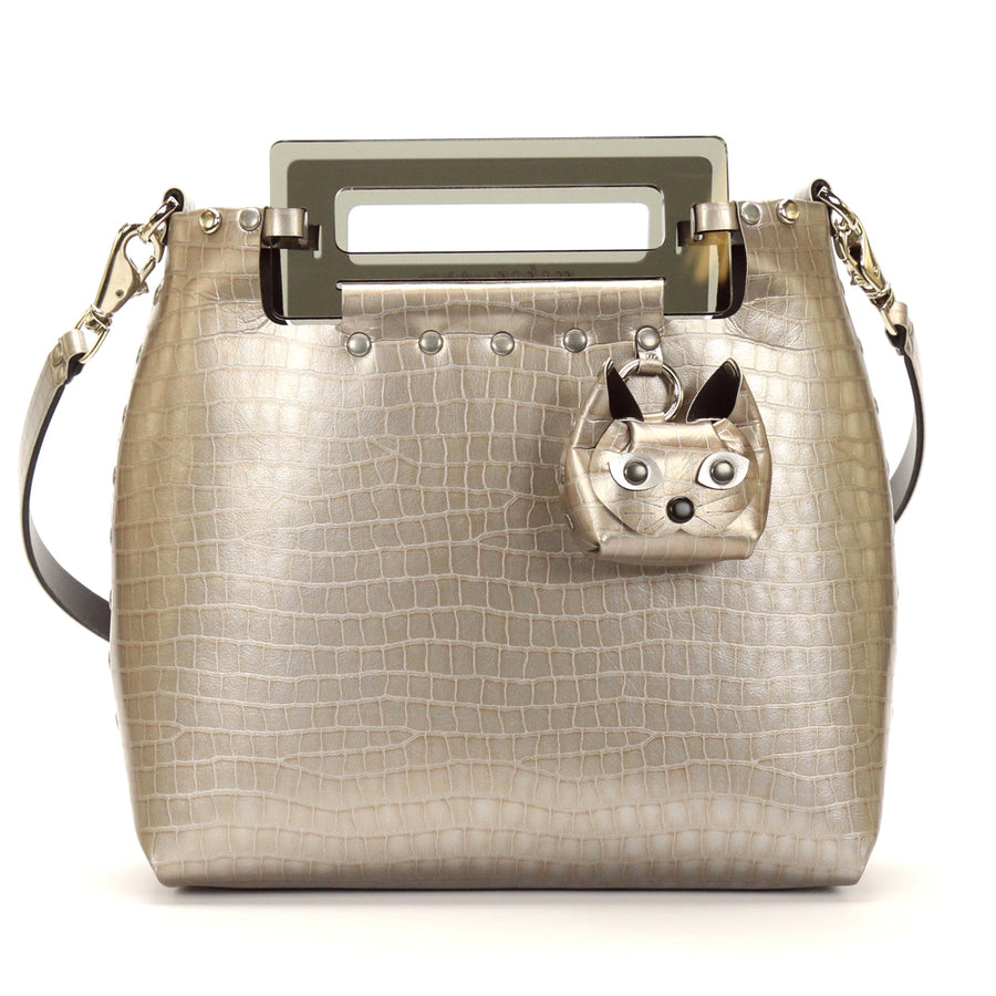 Silver Crocodile vegan leather medium crossbody bag with acrylic top handle and cat coin purse