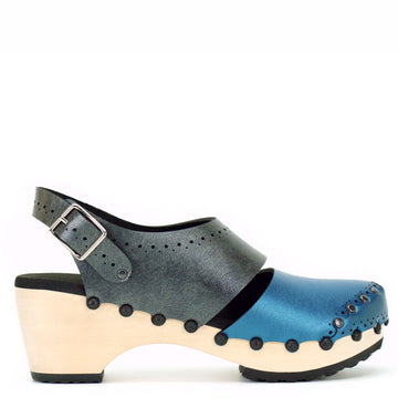 Mid Closed Toe Slingbacks in Azure and Slate