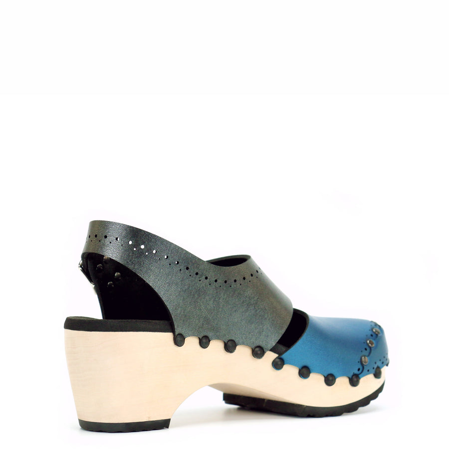 Blue and gray slingback clogs with wooden mid heel