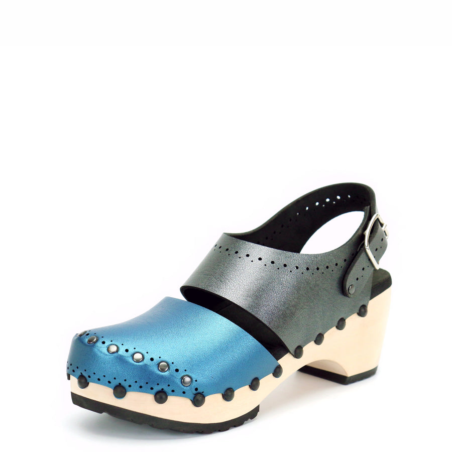 Azure and Slate Vegan Leather Slingback Mid Clogs with Wooden Heel