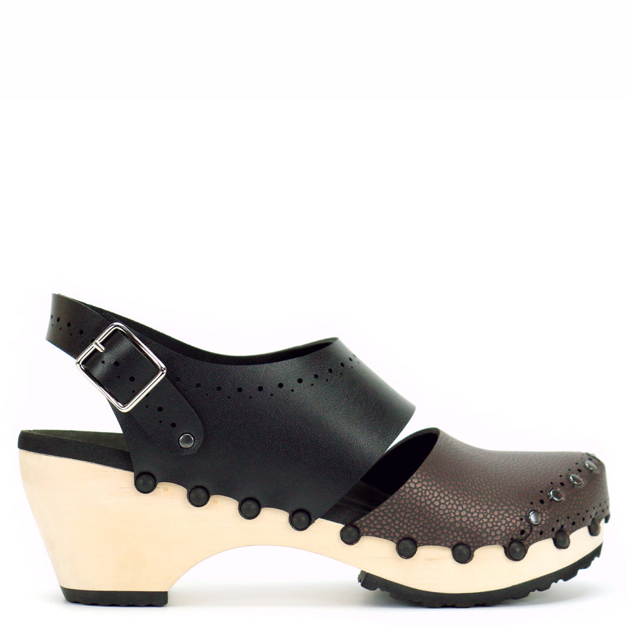 Mid heel slingback clogs in espresso and black vegan leather